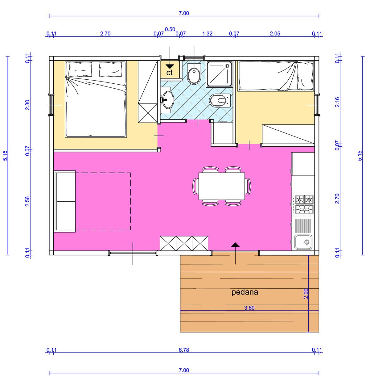 Progetti di case in legno casa 178 mq porticati 75 mq - Planimetria casa 60 mq ...
